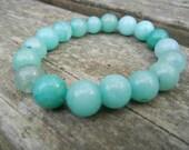 Blue-Green Jade Beaded Bracelet