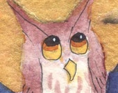 Whooo ME - OWL - ACEO Print  - Signed Limited Edition by Allison Stein - Whimsical art card
