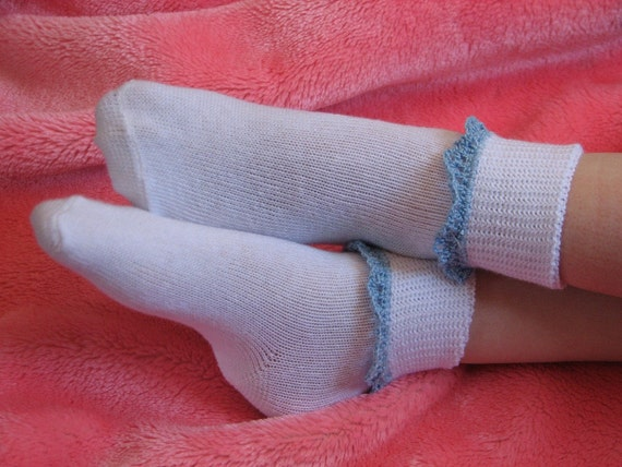 3 DOLLAR SOCK SALE Girls Ankle Socks with Crocheted by arvi5214