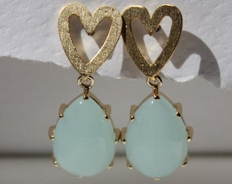 Pastel icy blue glass teardrop earrings with brushed gold plated heart post perfect for occasions like prom, bridal shower or mothers day