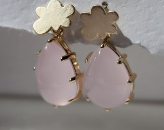 Pink rain- Pastel pink glass drop earrings with matte gold plated cloud post perfect for occasions like bridal shower, prom or mothers day