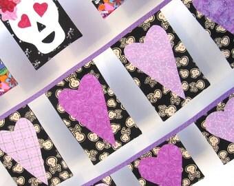 Lavender Hearts 'n Skulls Bunting
