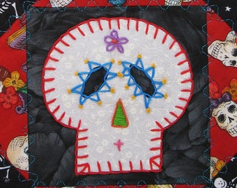 Sugar Skull Quilt,  Red Day of the Dead