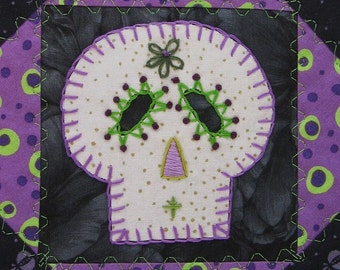 Sugar Skull Quilt, Purple and Green