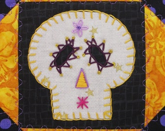 Sugar Skull Quilt, Purple and Gold