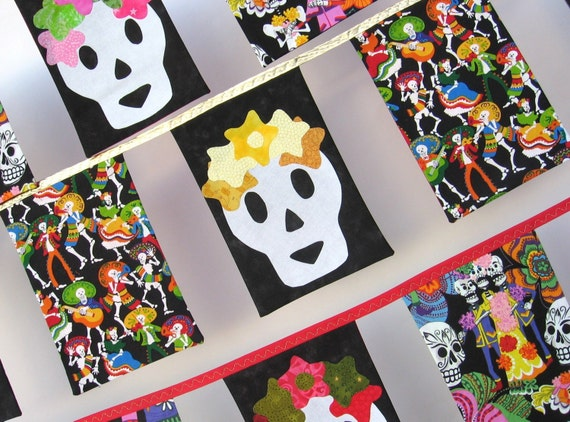Skully  Bunting, Yellow and Gold