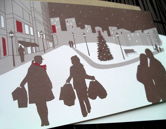 City Panoramic Scene (set of 8 eco holiday cards)