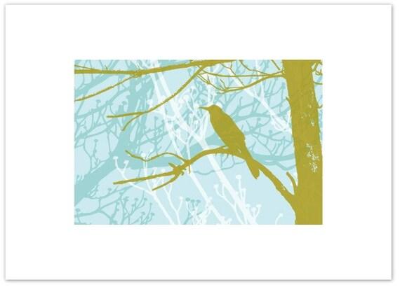 Limited Edition Screen Print - Bird on Moss Tree