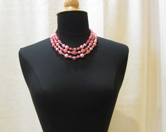 Vintage Candy Pink Pearl Choker Necklace