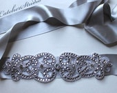 Dazzling Hollywood style Beaded Crystal and Silver Ribbon Wedding Gown Belt, Sash with Swarovski crystal, super Glam CC0030