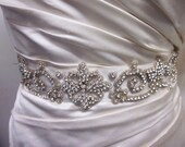 Carmela Crystal beaded, hand sewn hollywood inspired bridal sash