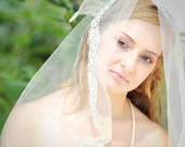 Pia Lace Trimmed Mantilla Veil with gold accent vintage lace, customized length