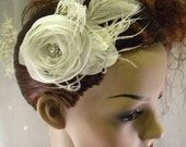 Argento Rose Fascinator , bridal headpiece White and Silver with Ostrich Feather accents