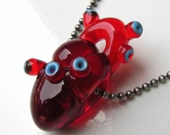 Anatomical Heart Glass Bead. Flameworked Wearable Art.  Custom Red Glass Heart. Handmade by Amy Bond