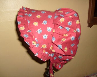 Sunbonnet Baby 3 to 15 months Red with Blue and Gold Clusters 11USD