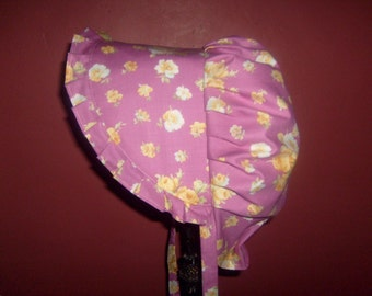 Sunbonnet  Pink Missy 6 to 10 years Parade of Yellow Roses on Dark Pink LIMITED 12.50USD