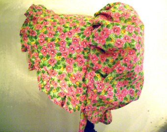 Sunbonnet Baby fresh pink floral on spring green 3 to 15 months LIMITED