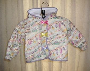 Coat Baby Girl's Light Coat 6 months REVERSIBLE white to Japanese fans/lanterns