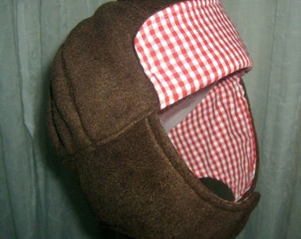 """Hat Trapper Children's Aviator Hat 19"""" Brown Fleece and Red Gingham Boys or Girls 1 to 3 years 17USD"""