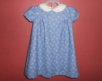 Dress Baby 12 months Pleated Vanilla Floral on Country Blue