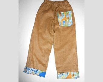 Pants 3T Corduroy Brown Cuffed Cornstalk blue jungle print flash
