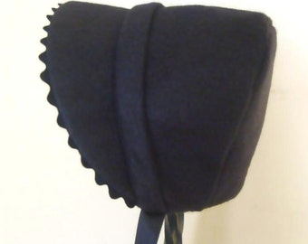 Hat Winter Bonnet Victorian Black newborn to 6M
