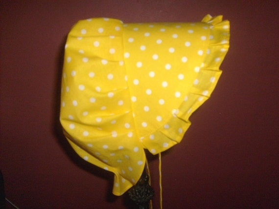 Sunbonnet Baby Yellow with White Polka Dots 3 to 15 months LIMITED