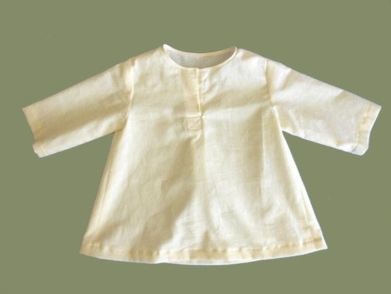 Baby Tunic Shirt Natural Unbleached Speckled Cotton 12 months
