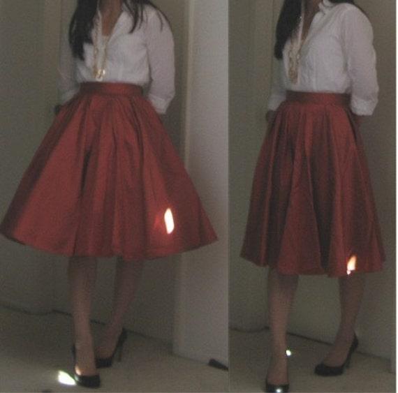 custom box pleated circle skirt silk w lining
