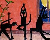 Cat Art - Yoga Cats - Cats doing yoga -  5x7 print in 8 x 10 Mat - Yoga Art - Cat Print - Yoga Gift