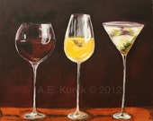Wine and Martini 8x10 Art Print