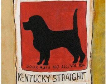 Black Dog Bourbon - Framed Canvas Art Print -  Man Cave Art - 6 x 16 inches