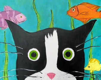 Tuxedo Cat kissed by a Fish - Cat Art Print - Cat with Fish -  8x10 Print - Tuxedo Cat Painting - Cat Lover Gift - Silent Mylo Tuxedo Cat