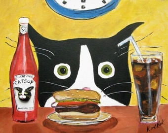 Tuxedo Cat Print - Cat with Hamburger Art Print - 8x10 Print - Silent Mylo Tuxedo Cat - Funny Cat Print - Gift for Cat Lover