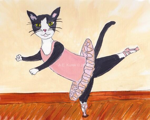 Tuxedo Cat Ballerina 8x10 Art Print