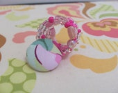 Heather Bailey Fabric Covered Button Beaded Ring Extra Wide