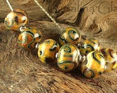 Glass Lampwork Beads Handmade by Catalina Glass SRA   Tiger TAils