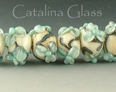 SRA Lampwork Beads Handmade by Catalina Glass Ivory and Copper Green Flowers 7
