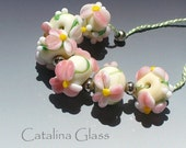Appleblossom Time 6 Lampwork Beads by Catalina Glass