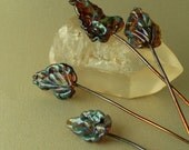 Lampwork Glass Bead  Leaf Jewelry Components by Catalina Glass