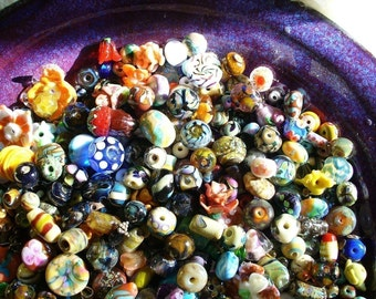 Lampwork beads/glass beads/ handmade lampwork/bead bowl/orphan beads/organic/sra lampwork/lampwork glass beads/beads/