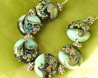 lampwork beads/sra lampwork/glass beads/beads/ artisan lampwork/copper green/raku/silvered ivory/