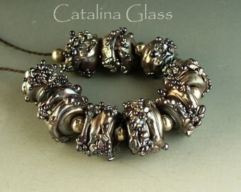 Lampwork Glass Beads  SRA Silver Plum Nuggets from the Mine by Catalina Glass