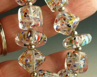 SRA LAmpwork/lampwork beads/beads/glass beads/handmade beads/crystals/confetti/ multicolor/ bright/summer/