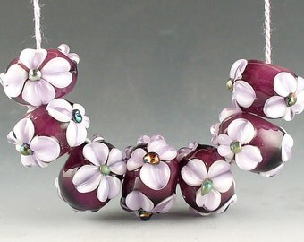 Lampwork Glass Beads by Catalina Glass  SRA Purple White Hearts 7 Beads