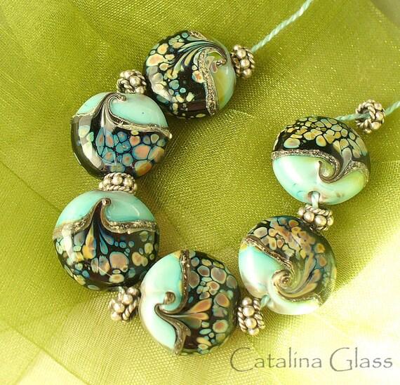 SRA Handmade Lampwork Beads Copper Green and Raku  by Catalina Glass