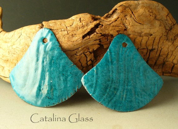 Copper enameled jewelry supplies sra Turquoise Enameled Fans by Catalina Glass
