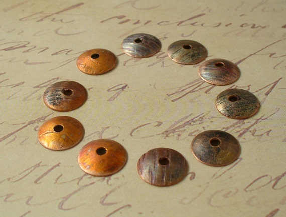 Heat Patina Textured Copper Bead Caps by Catalina Glass