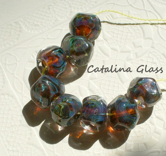 Lampwork Glass Bead SRA Handmade by Catalina Glass Amber and Reactive Glass Nuggets