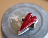 True Valentine Love Red Lampwork Glass Bead Heart and Pewter Heart Focal Bead - IN STOCK